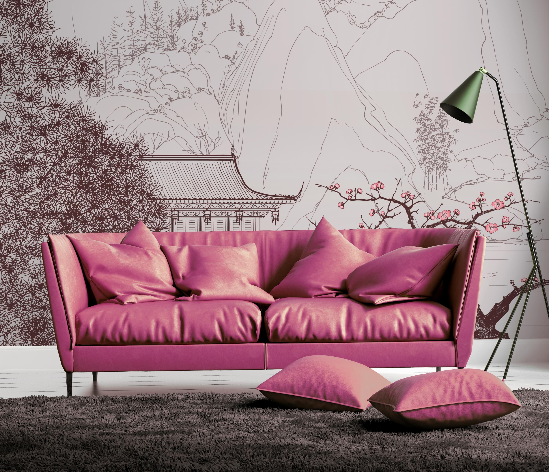 Light orange leather sofa in fresh contemporary style interior
