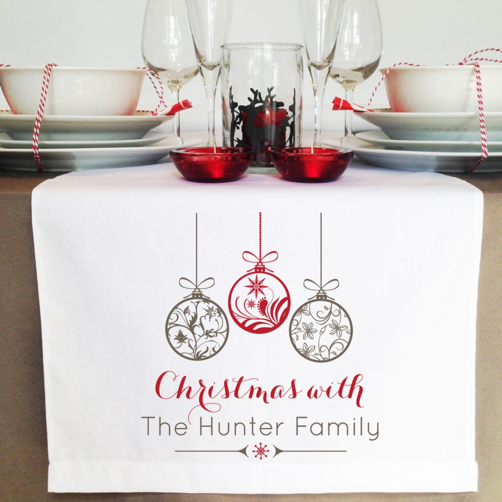 Personalised Christmas Ornaments Table Runner