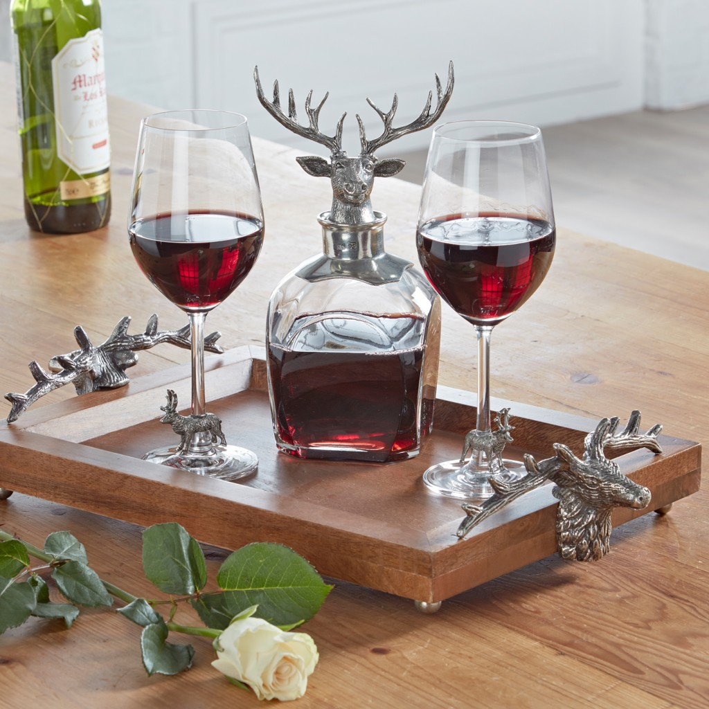 Stag Pewter and Glass Decanter, Glasses & Tray Set