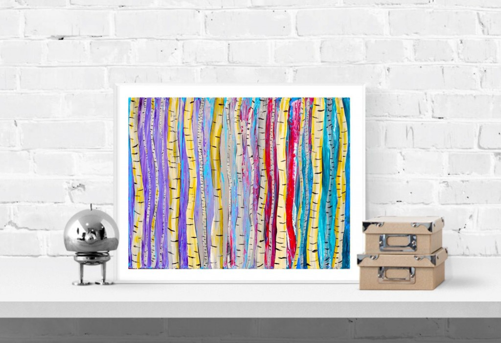 Homewares Birch Tree Wall Art Print