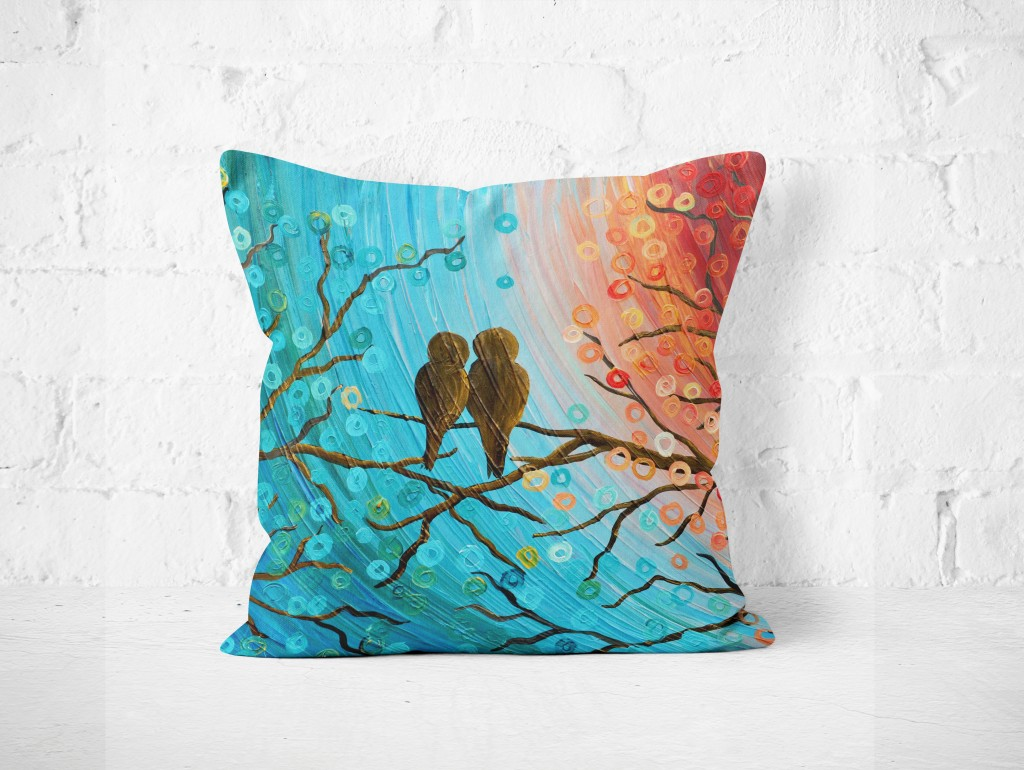 Homewares Turquoise & orange love birds pillow