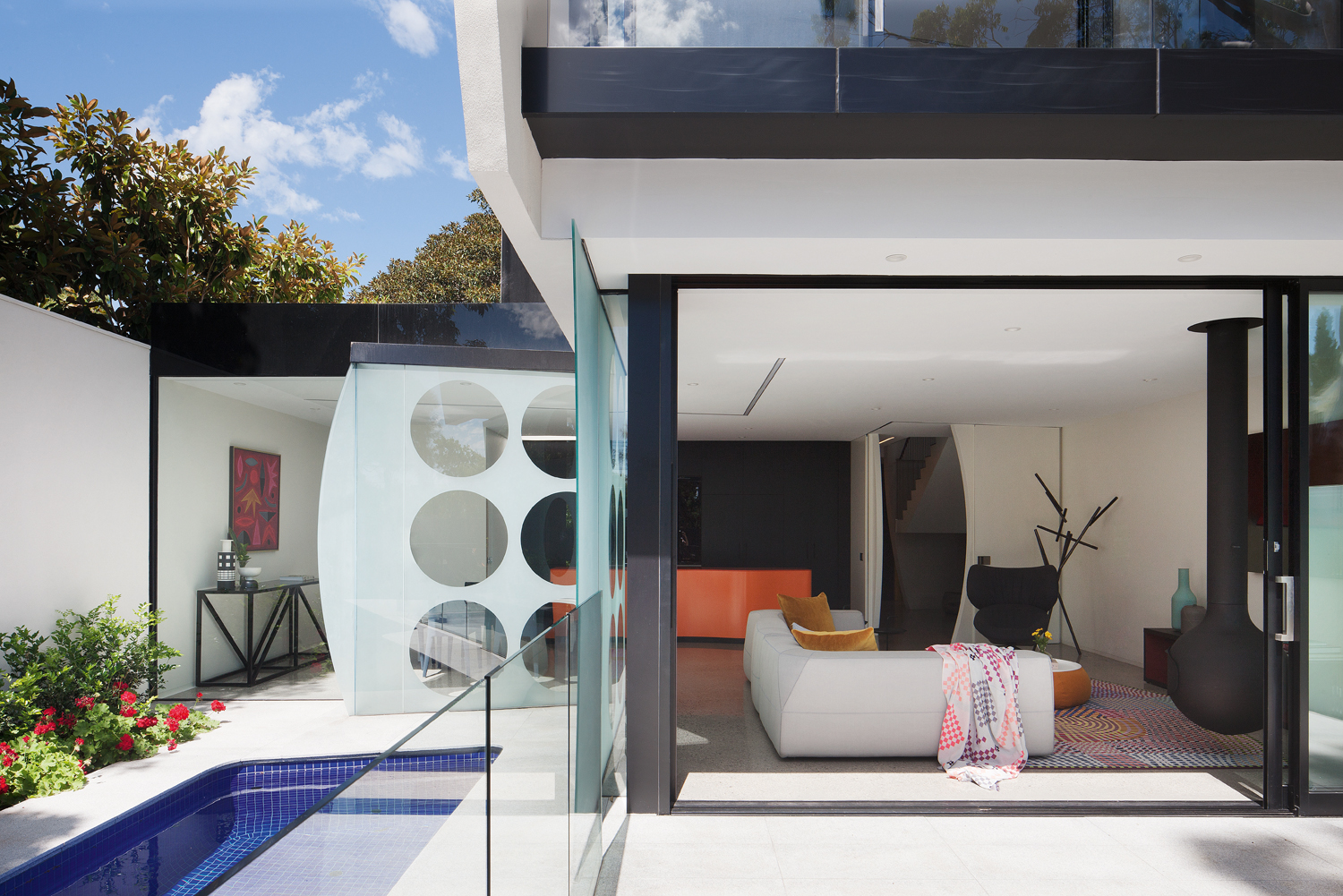 bedroom with view of pool