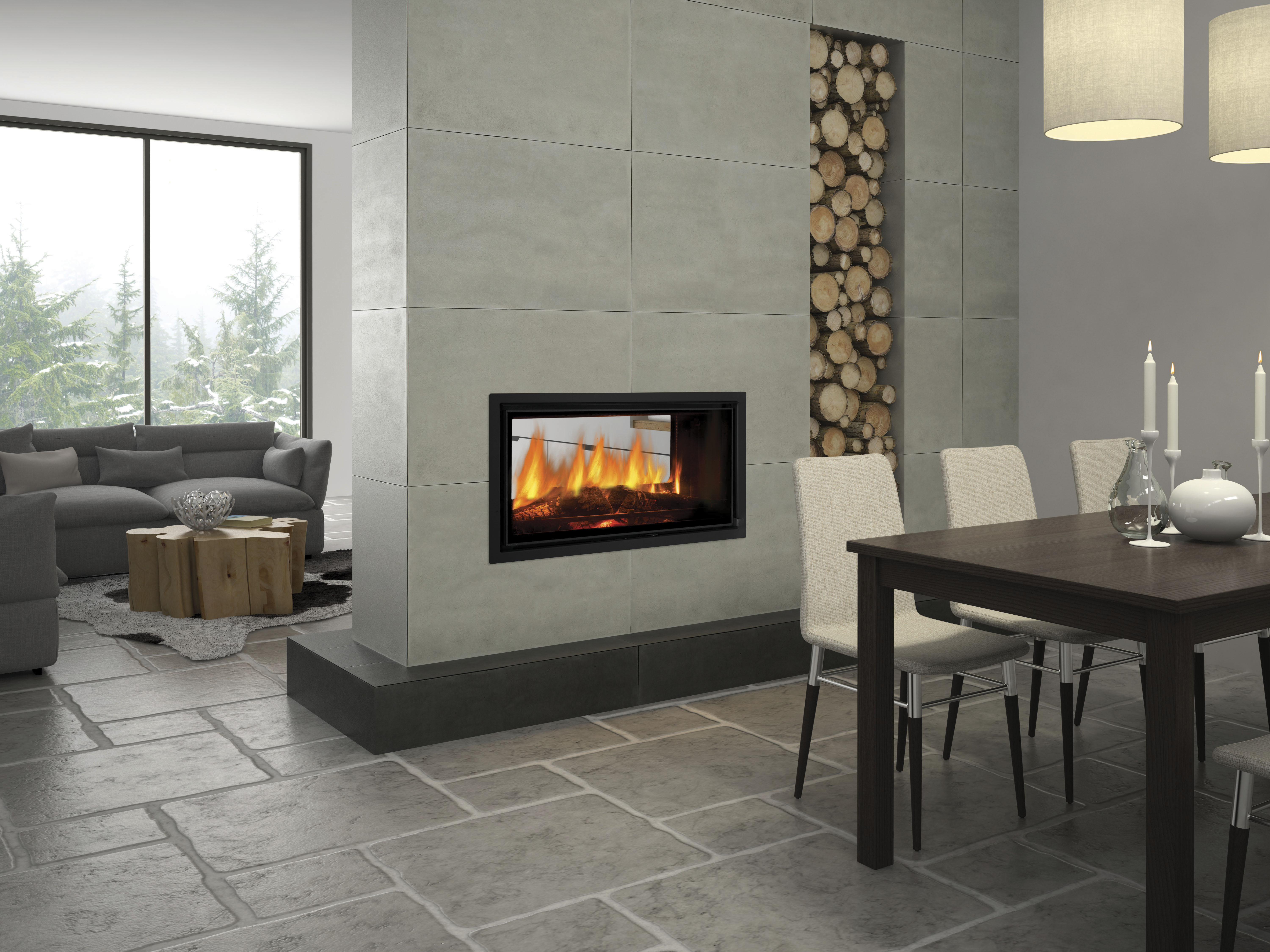 Seeing double new see through fireplace range completehome for See through fireplaces
