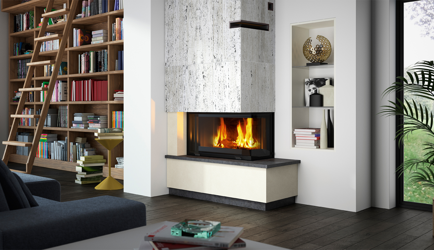 Cheminees Philippe: the best of both heating worlds - corner fireplace