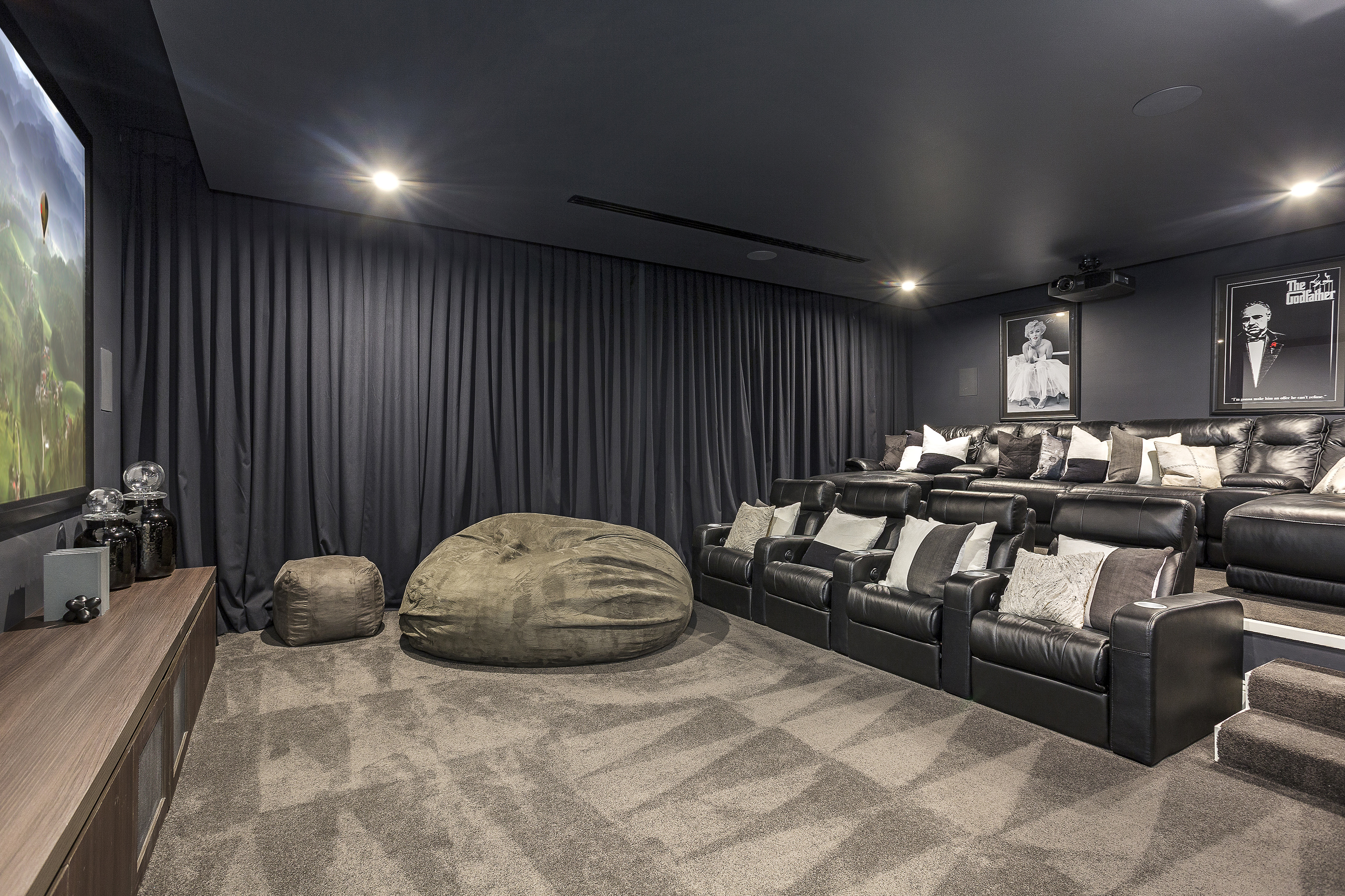 A high calibre custom home: clever lifestyle design - the stunning home theatre room