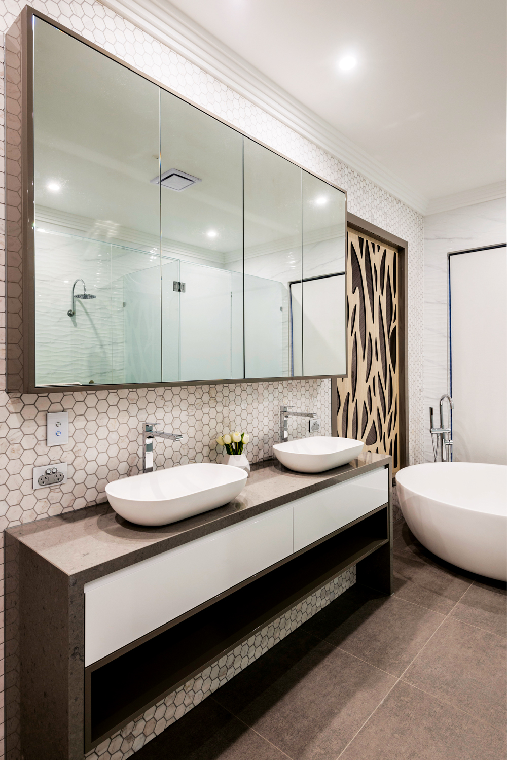 Luxe living: an elegant contemporary bathroom - vanity and mirror view 2 Germancraft