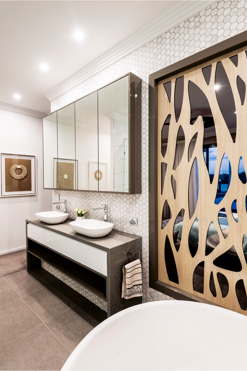 Luxe living: an elegant contemporary bathroom - vanity and mirror view 1