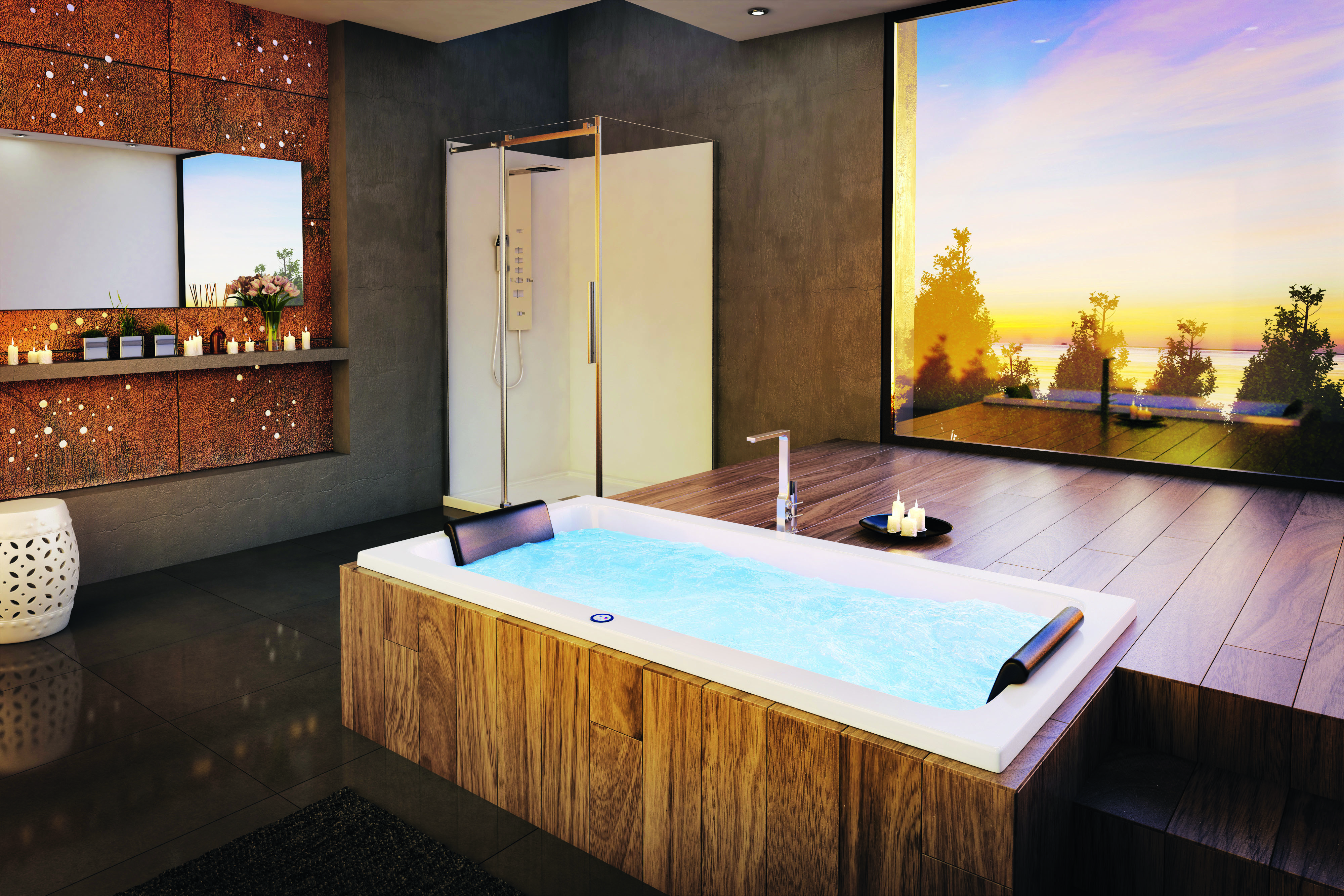 4 baths to help you recreate day spa ambience at home - Decina wooden look spa