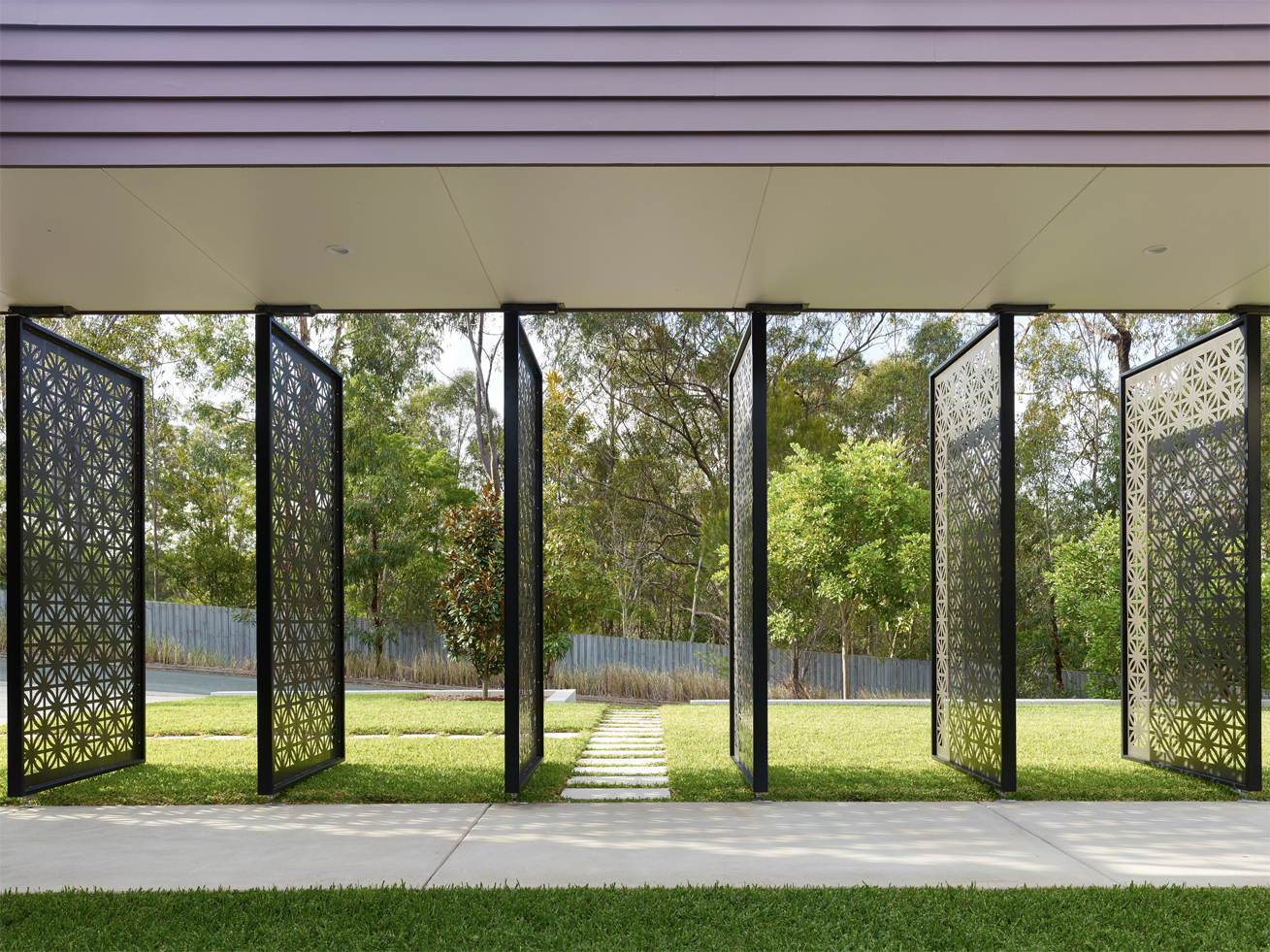 Grand Designs Australia: High Flyer - Architects' masterpiece - exterior: laser cut screens feature inside and out