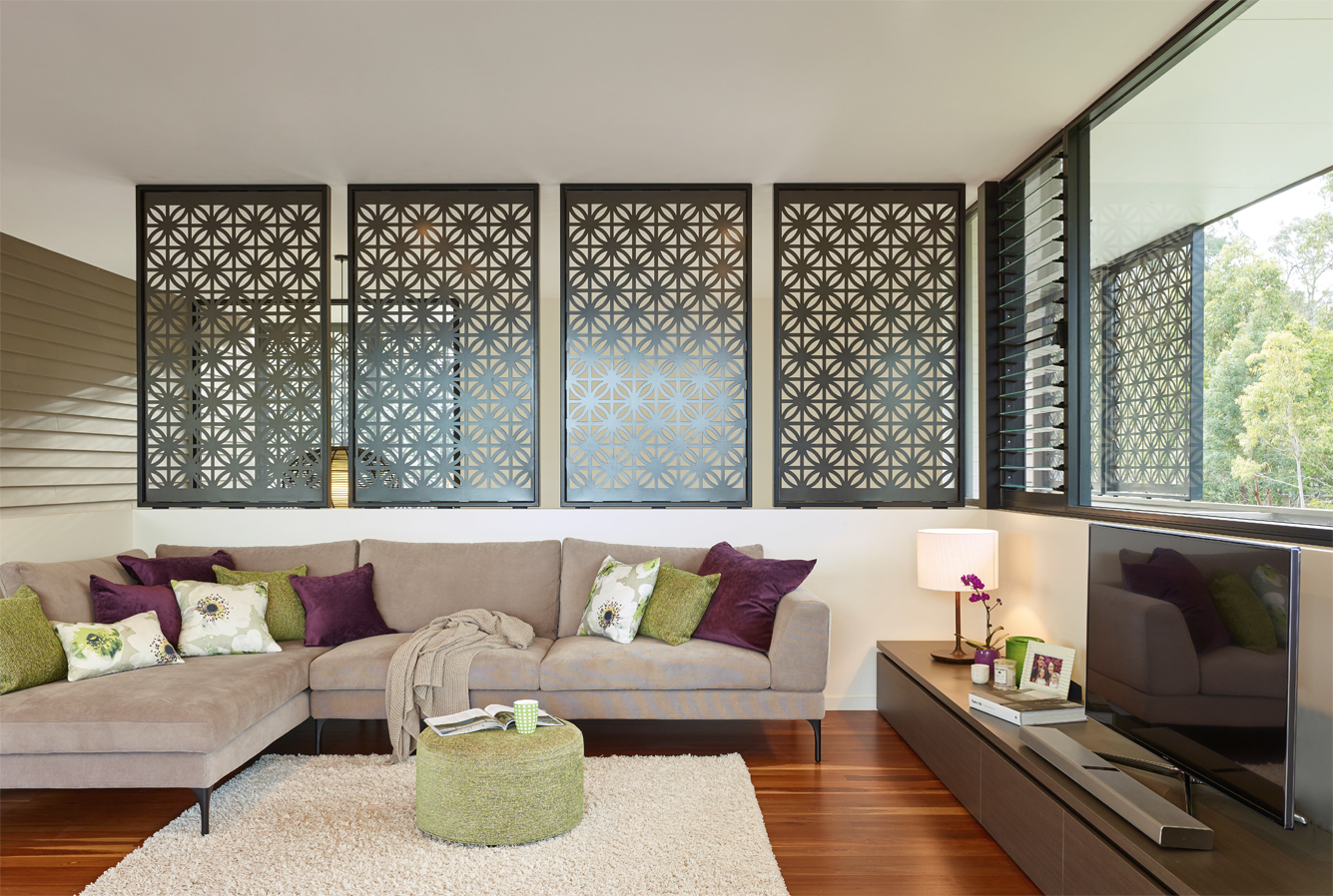 Grand Designs Australia: High Flyer - Architects' masterpiece - interior: laser cut screens feature inside and out