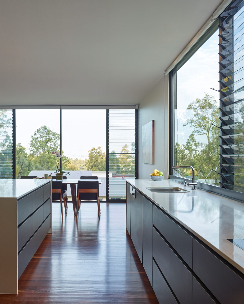 Grand Designs Australia: High Flyer - Architects' masterpiece - kitchen bar with view out window