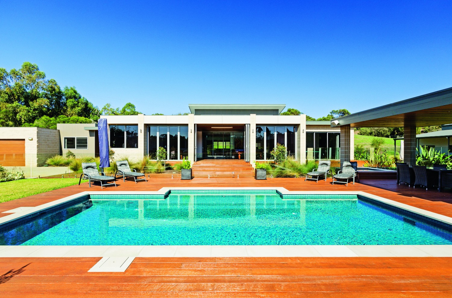 Country pool escape: rural tranquility - view of pool and home
