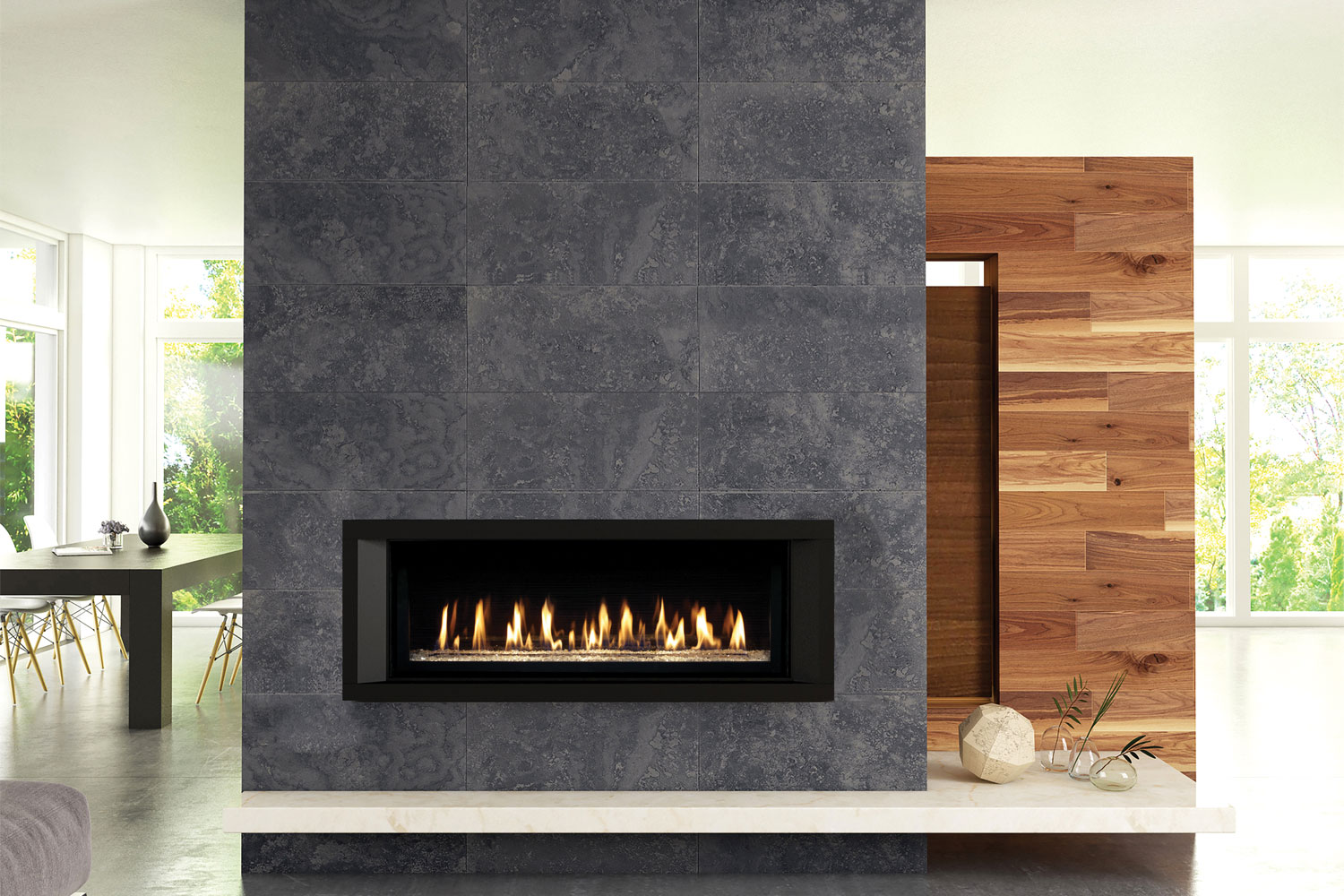 The linear look: custom fireplaces