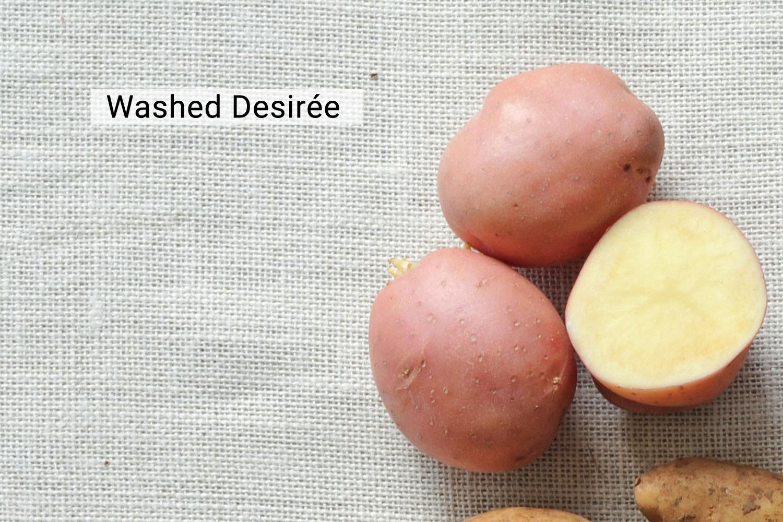 Washed desiree potato