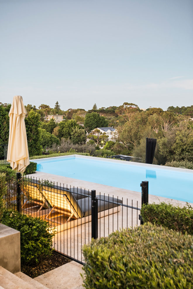 Portsea perfection: a pool and spa with a coastal view