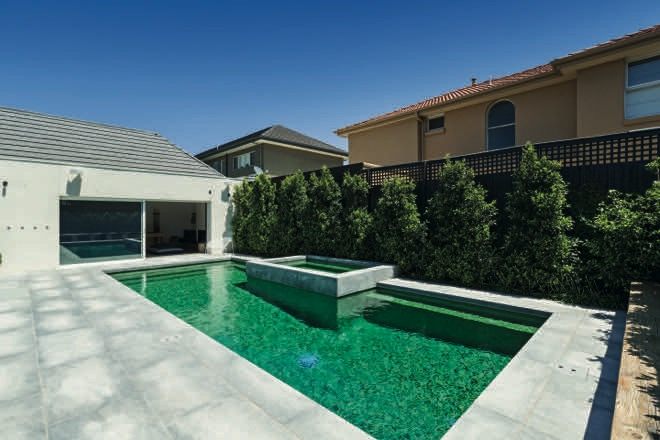 Green with Envy: a striking green mosaic pool design