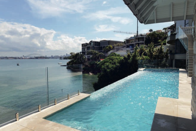 Harbour view: a glass infinity-edge pool