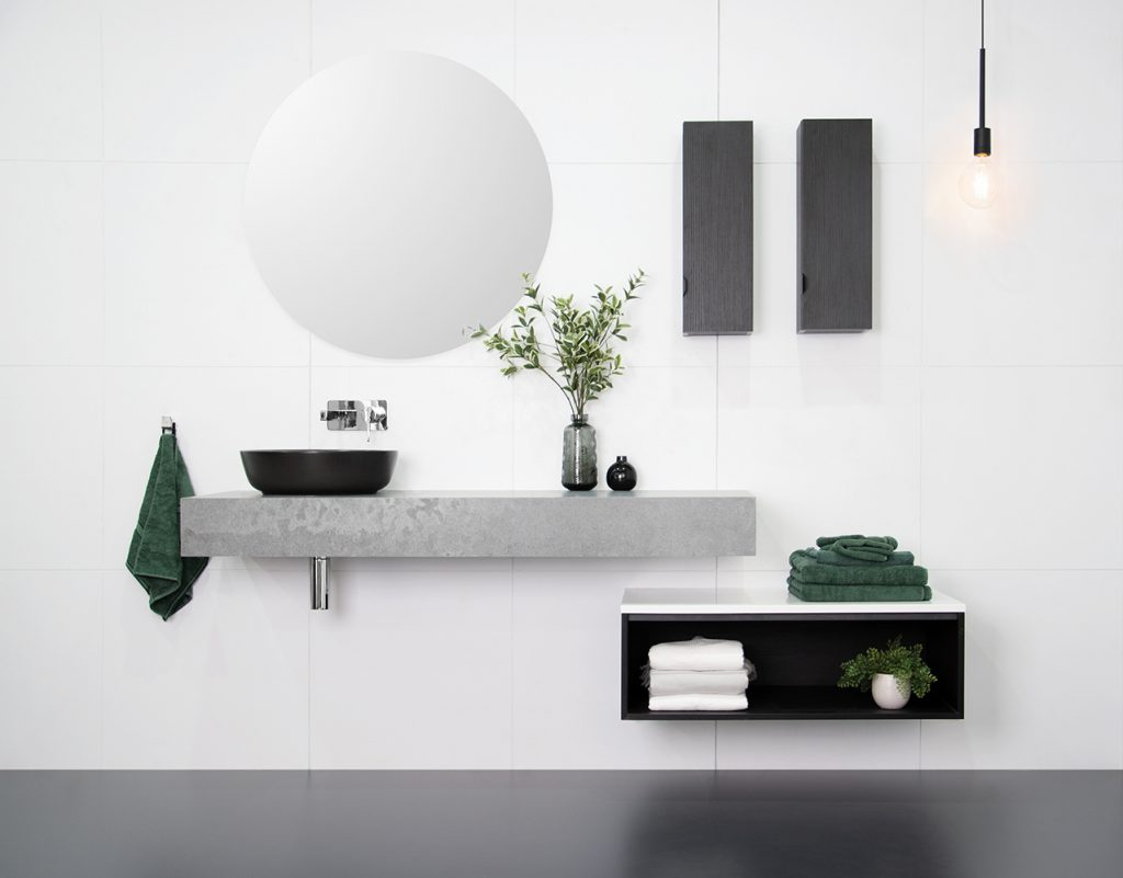 European-inspired bathroom storage design