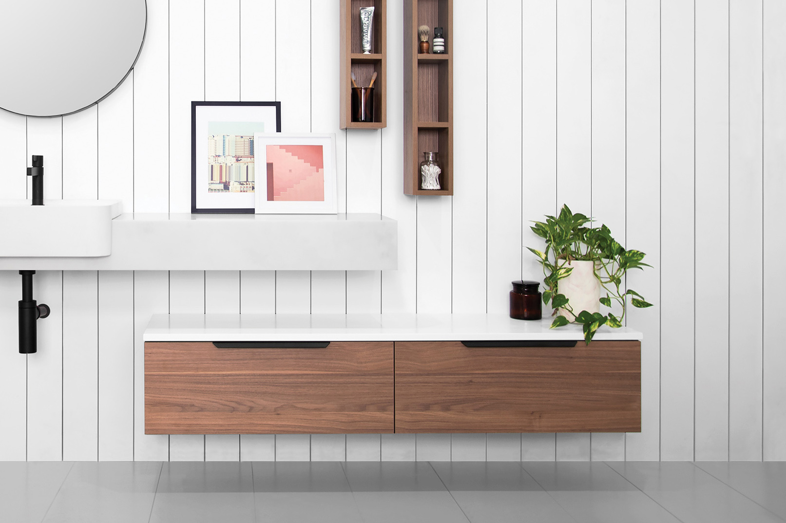 European-inspired bathroom storage - Completehome
