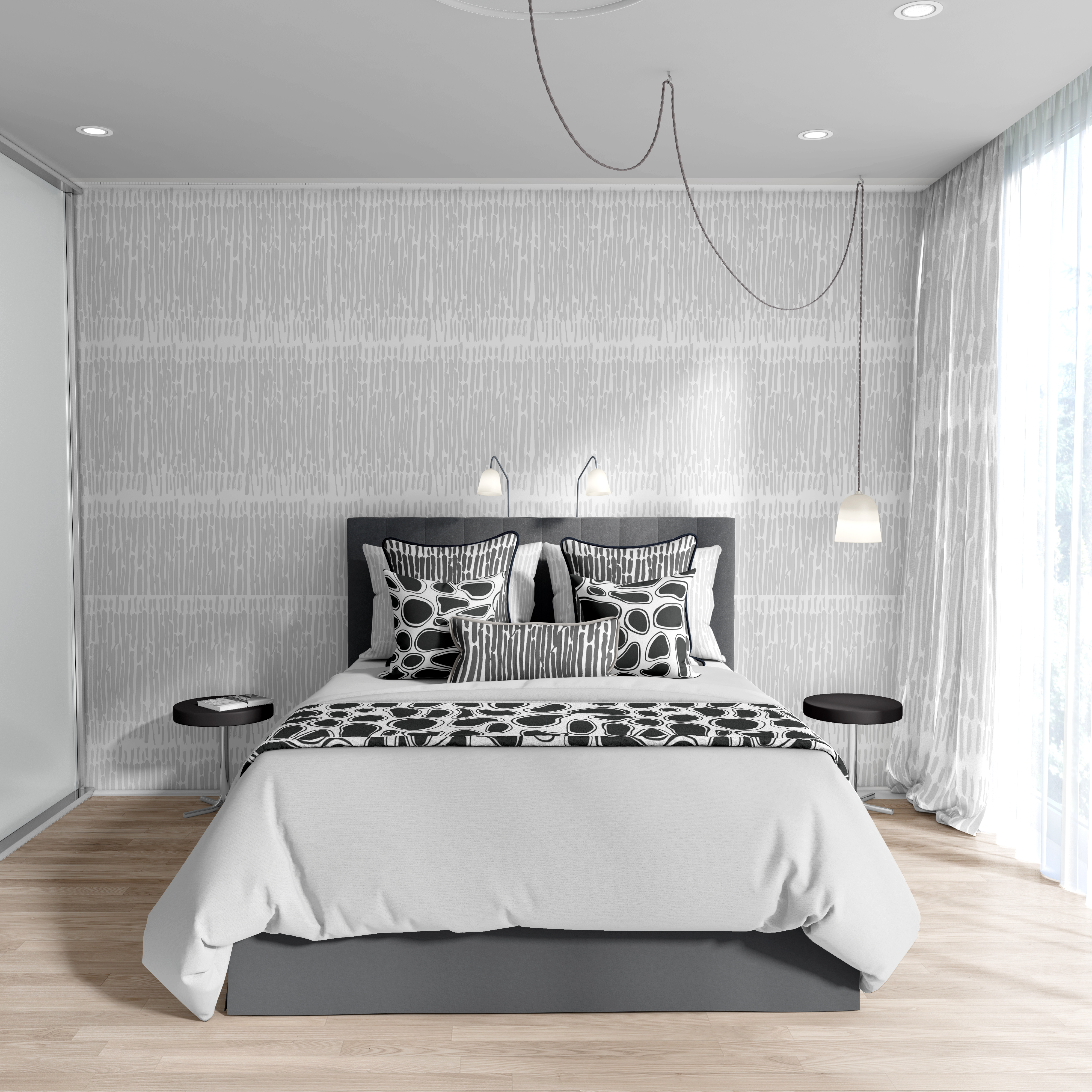Bedding Scene White Night With Wallpaper