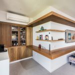 This timber kitchen goes against the grain