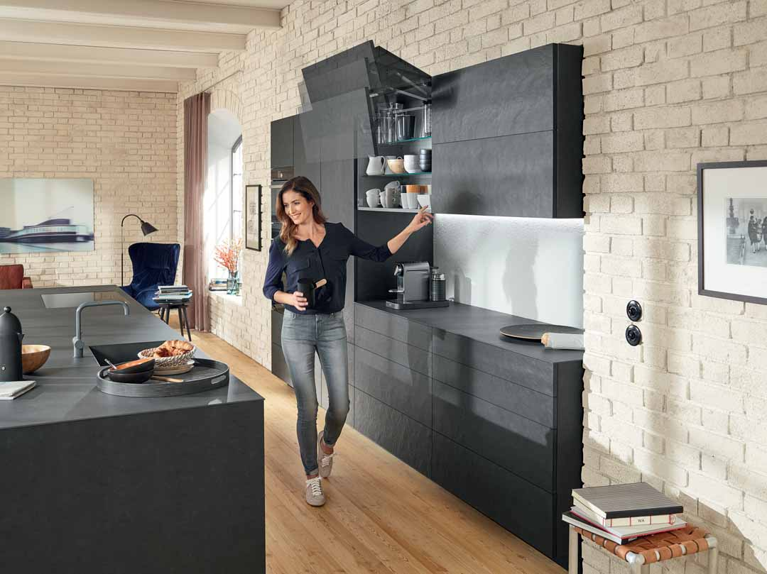 Explore unhindered access to wall cabinets