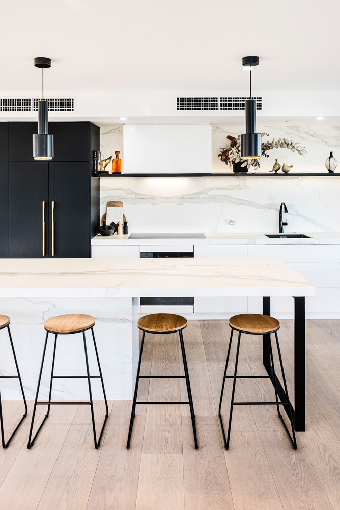A creative contemporary kitchen offering beauty and functionality
