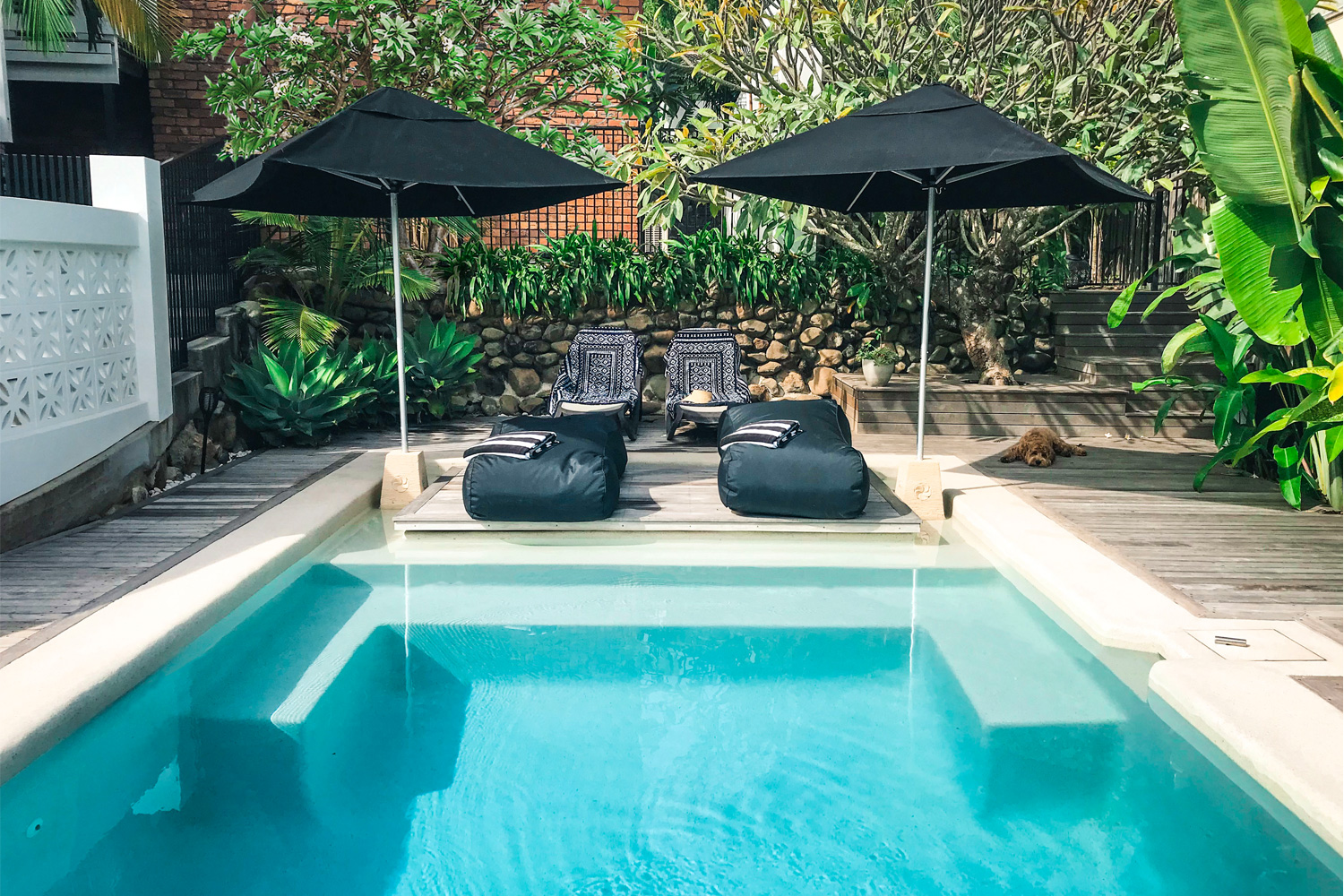 This steep sloping block pool proves a tropical oasis can be created anywhere