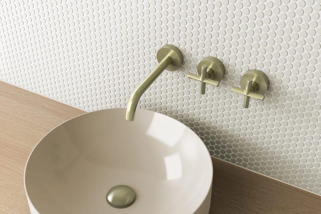 Vivid Slimline Plus Wall Basin / Bath Hostess Set 180mm Outlet above basin
