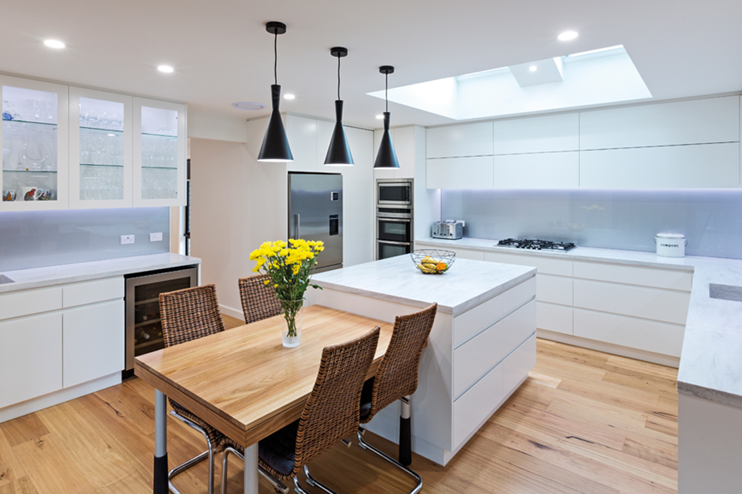 Light-filled kitchen designed by Kitchens by Peter Gill