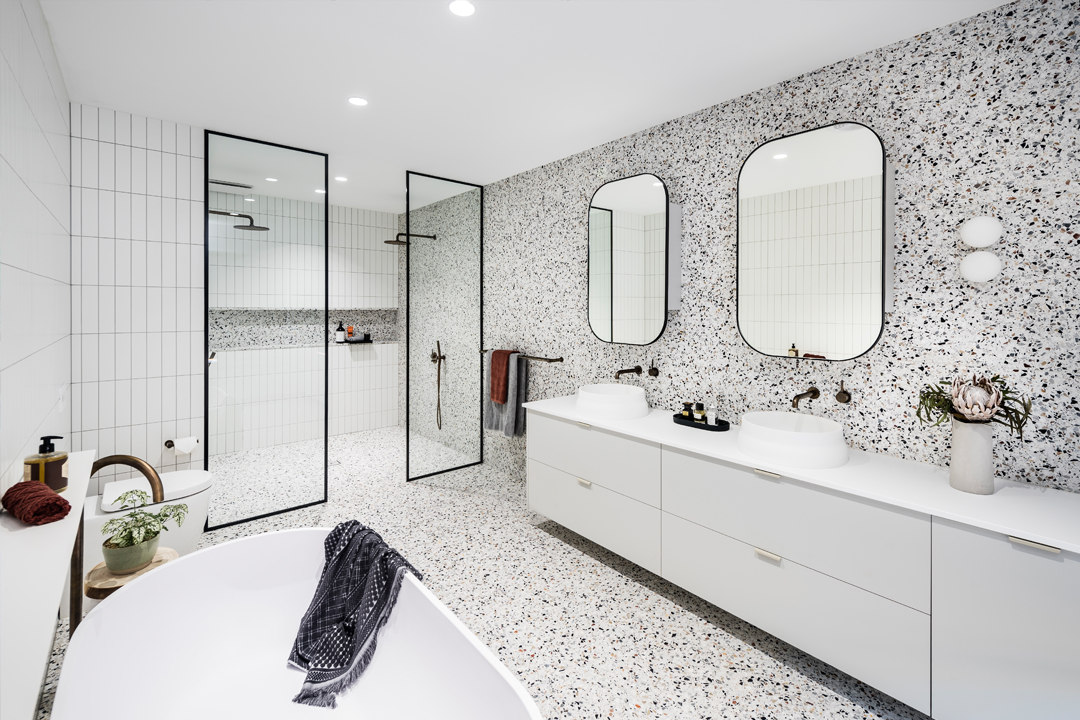Terrazzo tiles stealing the show of this bathroom