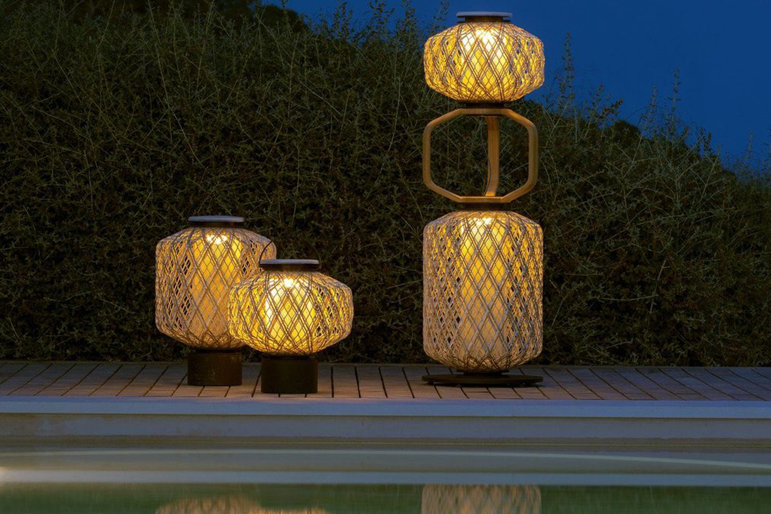THE OTHERS lanterns by DEDON - sculptural and beautiful outdoor lighting sitting poolside