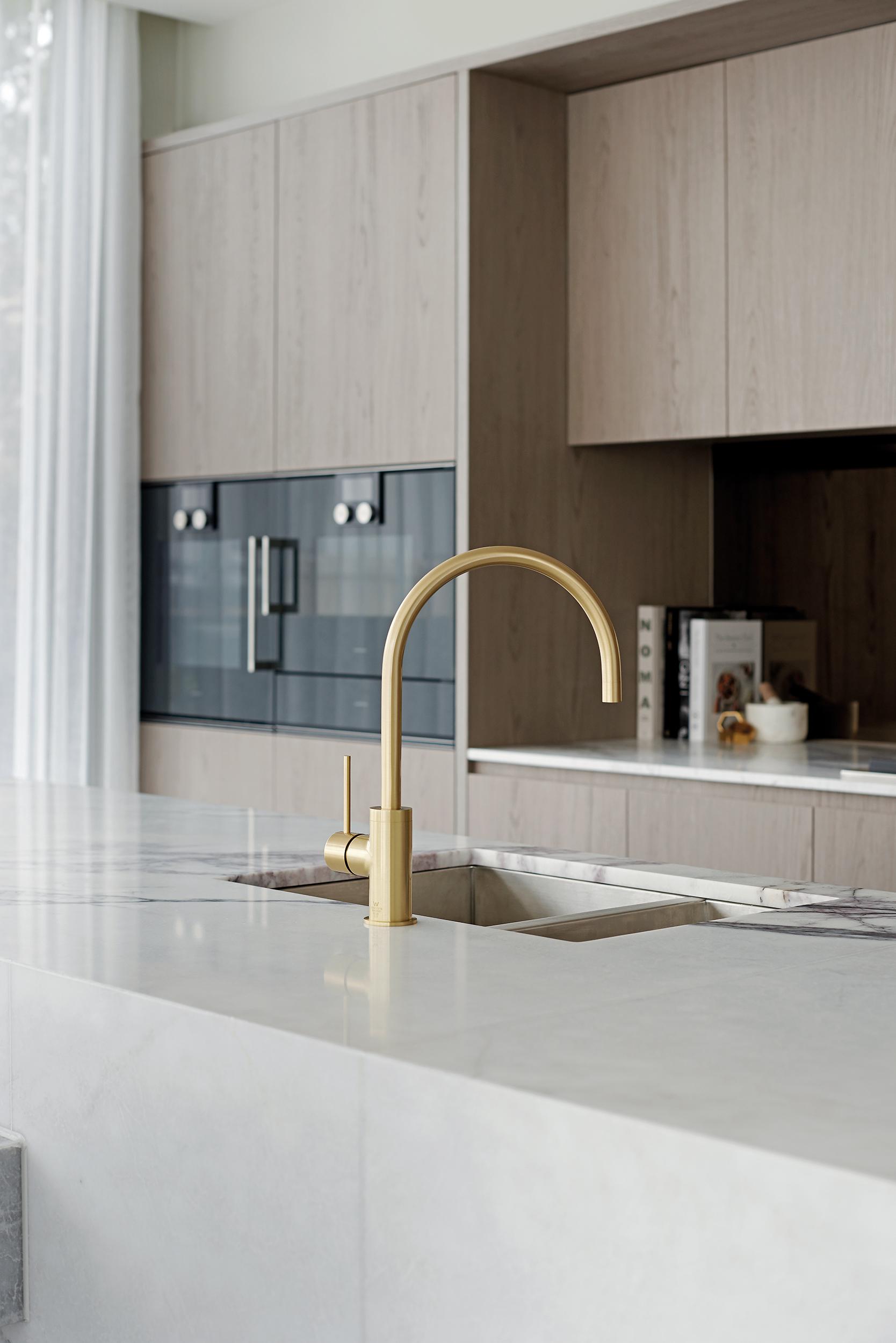 Phoenix's Vivid Slimline Sink Mixer Gooseneck in Brushed Gold