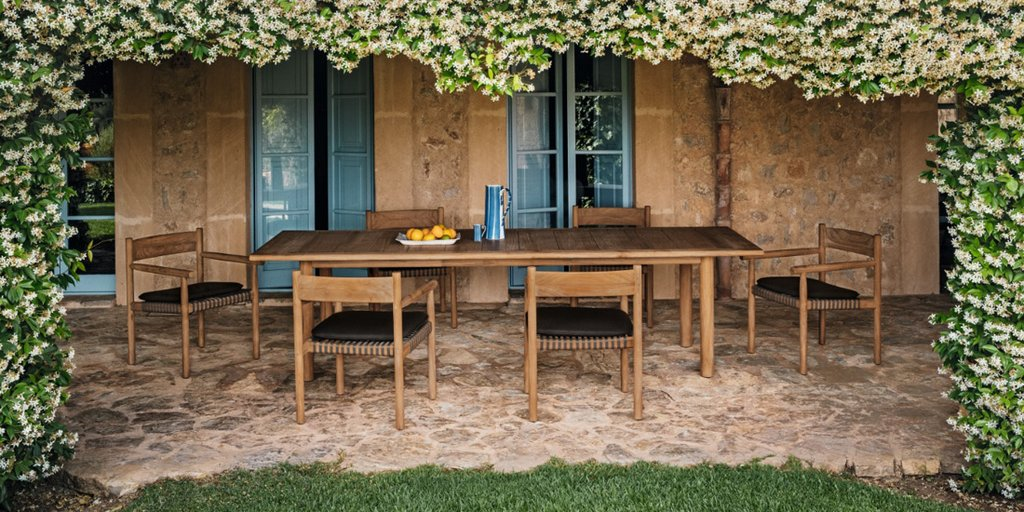 TIBBO outdoor teak dining table & TIBBO Armchairs by DEDON.