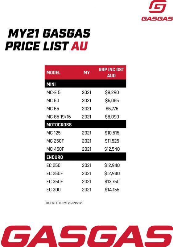 Gasgas My21 Price List Aud Nzd 1