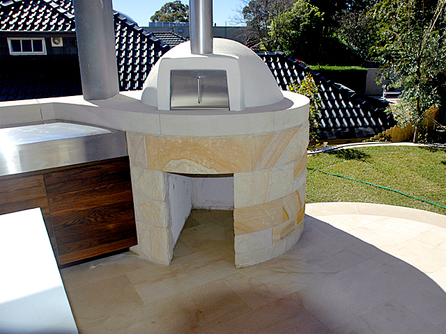 curved outdoor pizza oven Australian sandstone Gosford Quarries