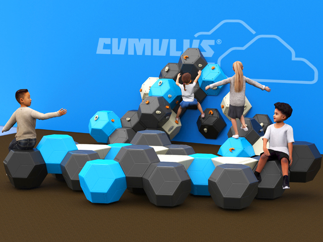 Cumulus with seating and wall climbing