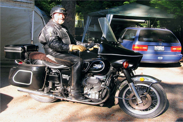 Old man on a Moto Guzzi