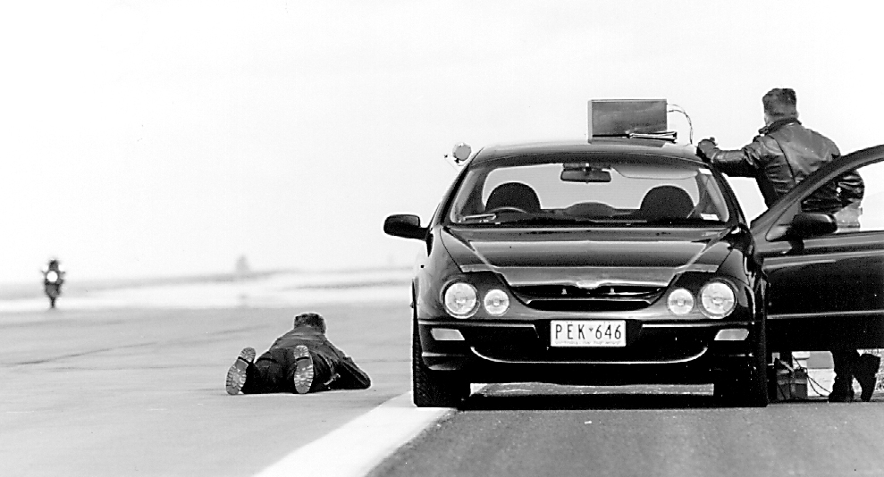 Police speed monitoring at the launch of the Hayabusa, 1999.