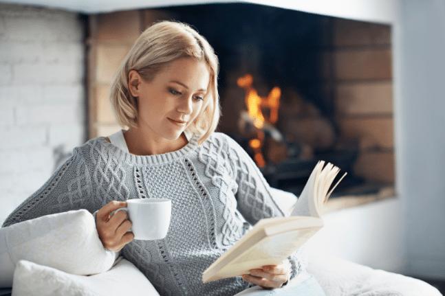 Woman reading fire