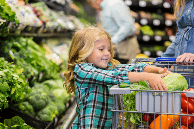 Young girl groceries