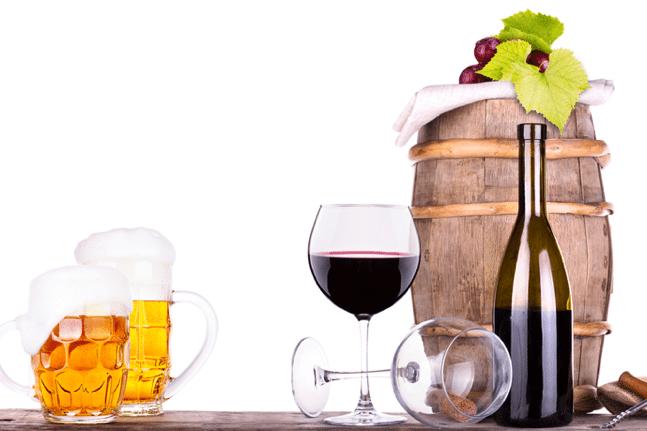 Grapes, barrel, corkscrew and beer