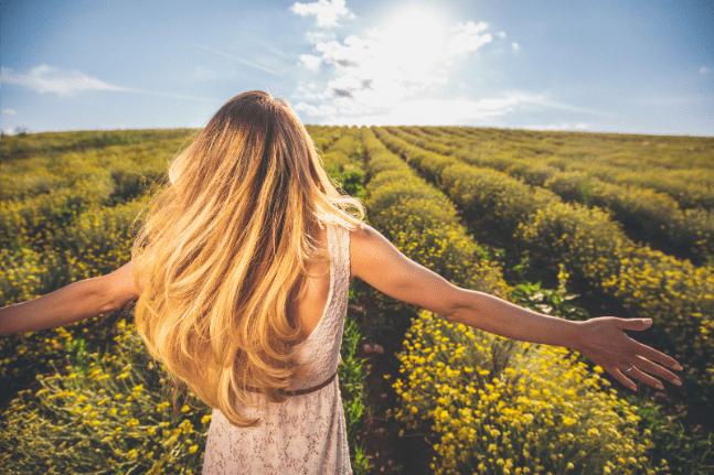 Woman flower field