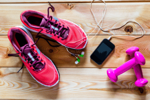 Fitness accessories with shoes and weights