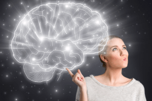 Woman thinking with a large brain