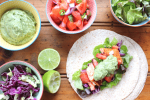 Lisa Guy's BBQ Fish Taco with Salsa, Avocado and Coriander Dressing