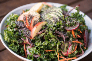 Kale and nectarine salad