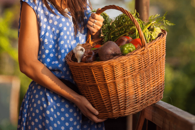 Woman with organic produce