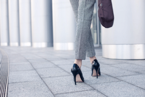Businesswoman going to work in high heels