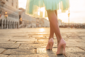 Woman walking in high heel shoes